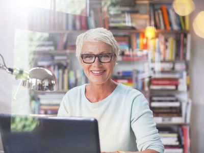Woman in a home office