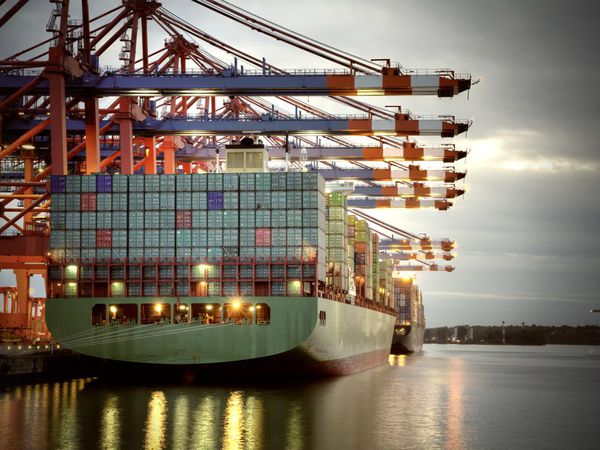 Container in harbor