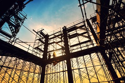 Construction site on sunset background