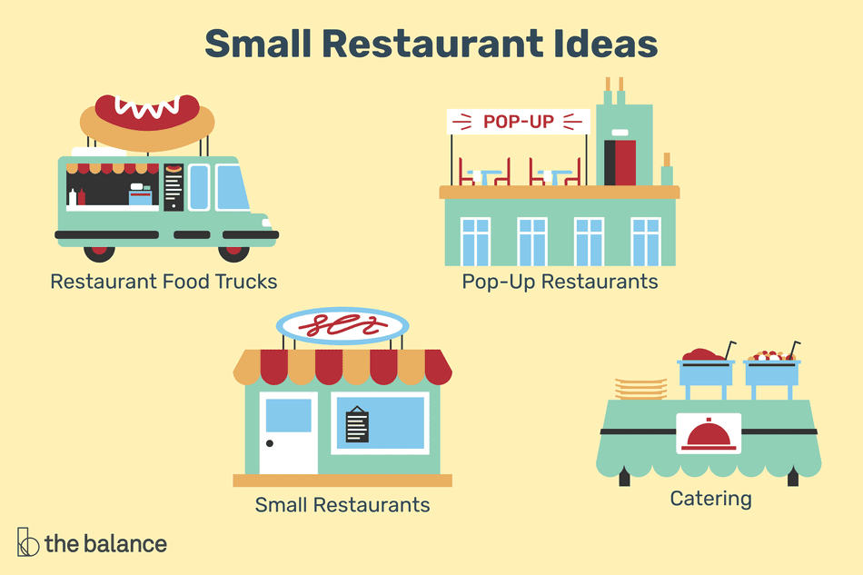 Illustrations of food truck, pop-up restaurants, catering, and small restaurants ideas