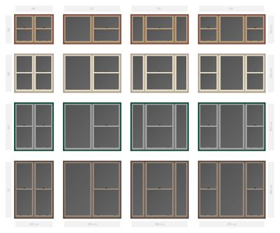 Vector Single Hung Non Bar Composite Window Set In Diffe Sizes And Colors