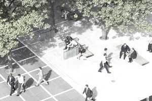 office workers in plaza, aerial view