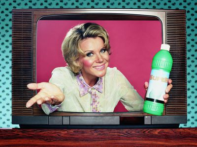 woman coming out vintage television in sales informercial