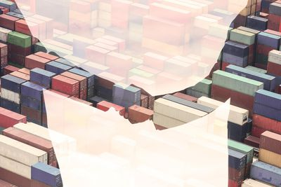 Stacks and rows of E-Commerce shipping containers using Third Party Logistics