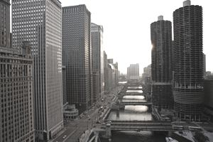 USA, Illinois, Chicago, looking west down Wacker Avenue