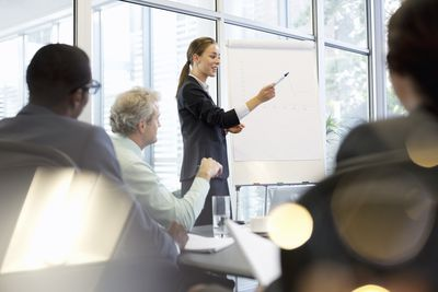 Woman leading a meeting to determine the target market for a new product.
