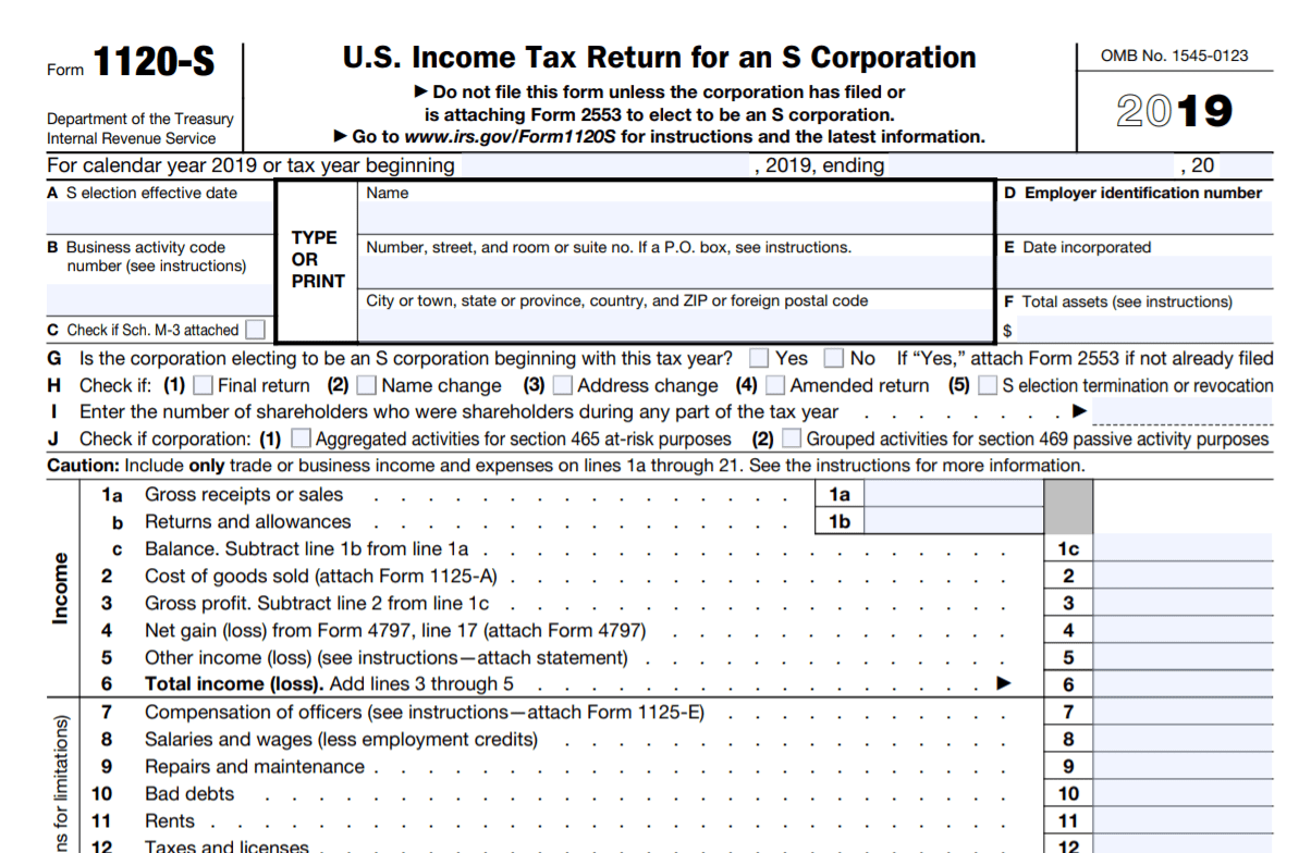 IRS Form 1120-S