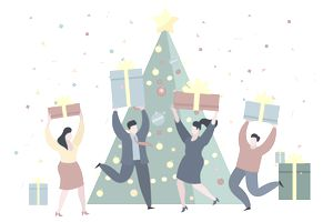 Illustration of a group of people dancing with gift boxes in front of a Christmas tree.