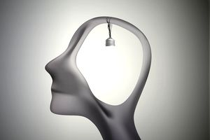 man profile head with bulb inside, inspiration dream, think different,surrealistic dream,
