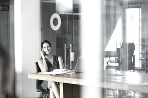 businesswoman on phone in office