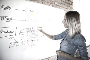 Businesswoman working on whiteboard at brick wall in office