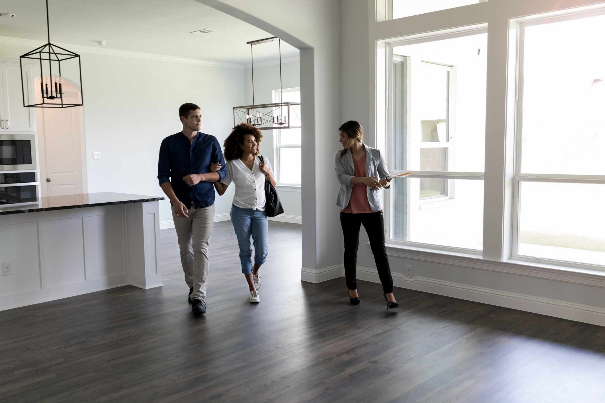 Couple visiting an open house