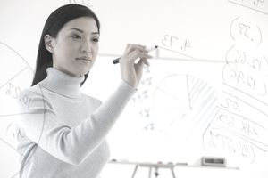 Asian businesswoman writing on white board