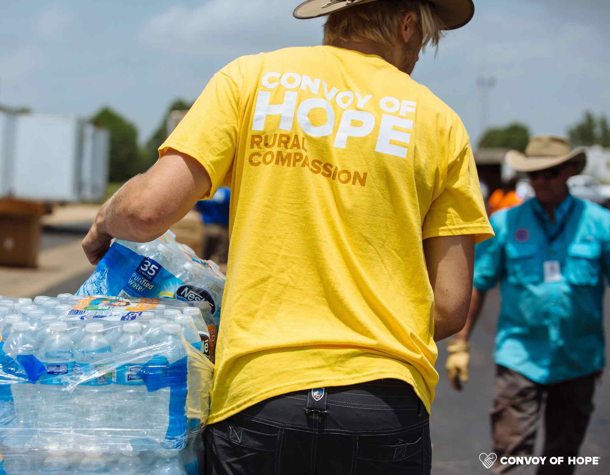Convoy of Hope volunteer helping with a disaster.