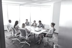 Group business meeting in office conference room