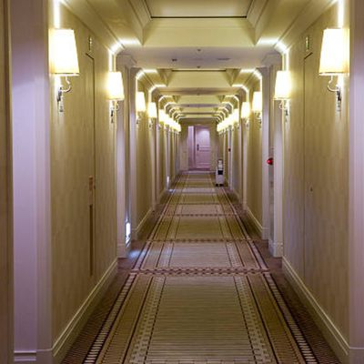 Hallway of block of hotel rooms booked at net rate for an event
