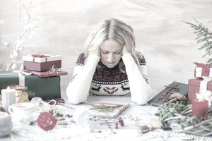 Woman stressed about Christmas holidays