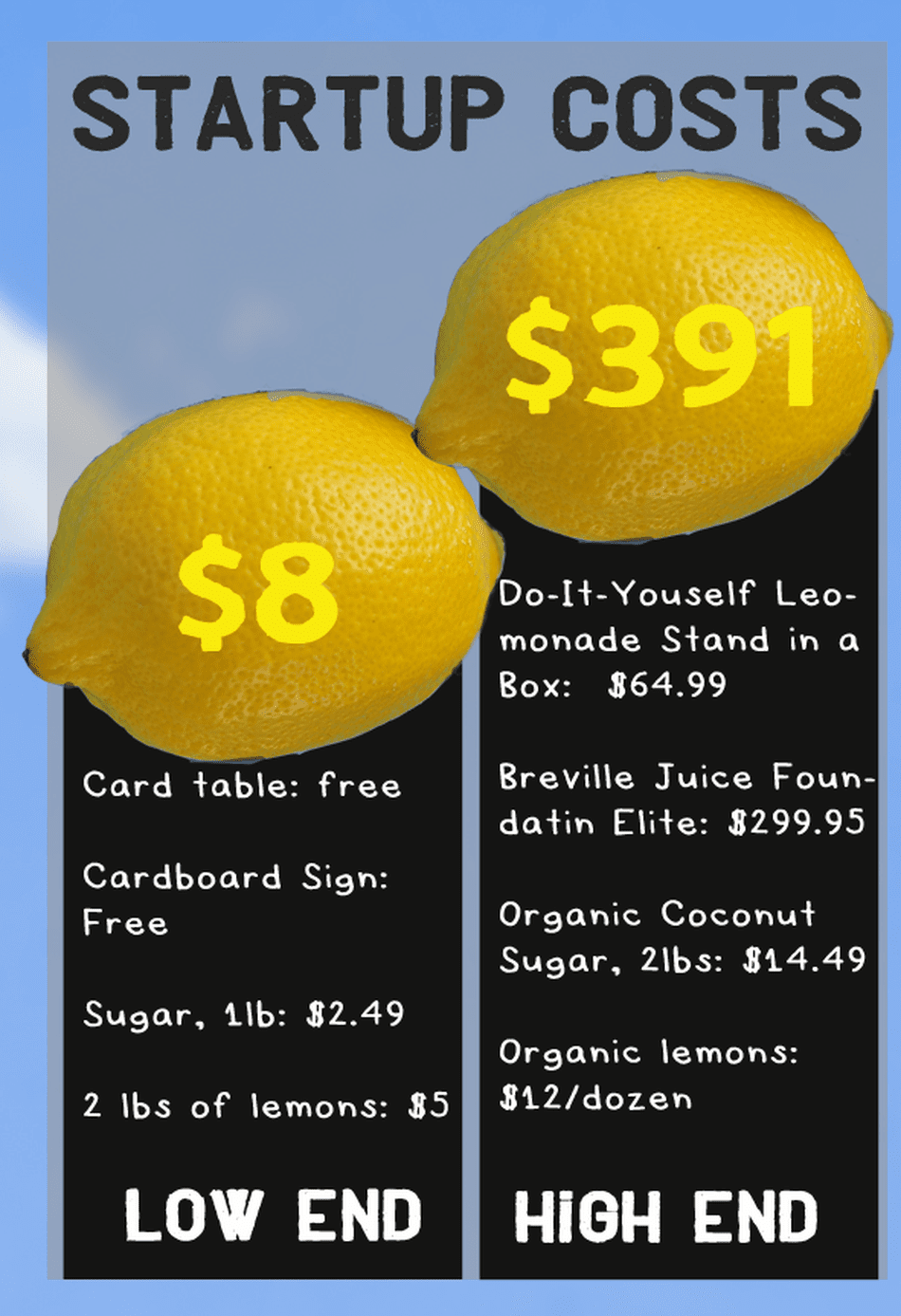Humors comic with the economic cost of a lemonade stand showing low end—using cardboard sign and card table or expensive.