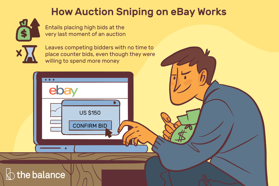 """Image shows a sinister looking man with a bag of money on his lap, and his computer open to ebay where he's putting in a bid of $150. Text reads: """"How auction sniping on eBay works. Entails placing high bids at the very last moment of an auction. Leaves competing bidders with no time to place counter bids, even though they were willing to spend more money"""""""