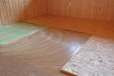 Subflooring material at a construction site