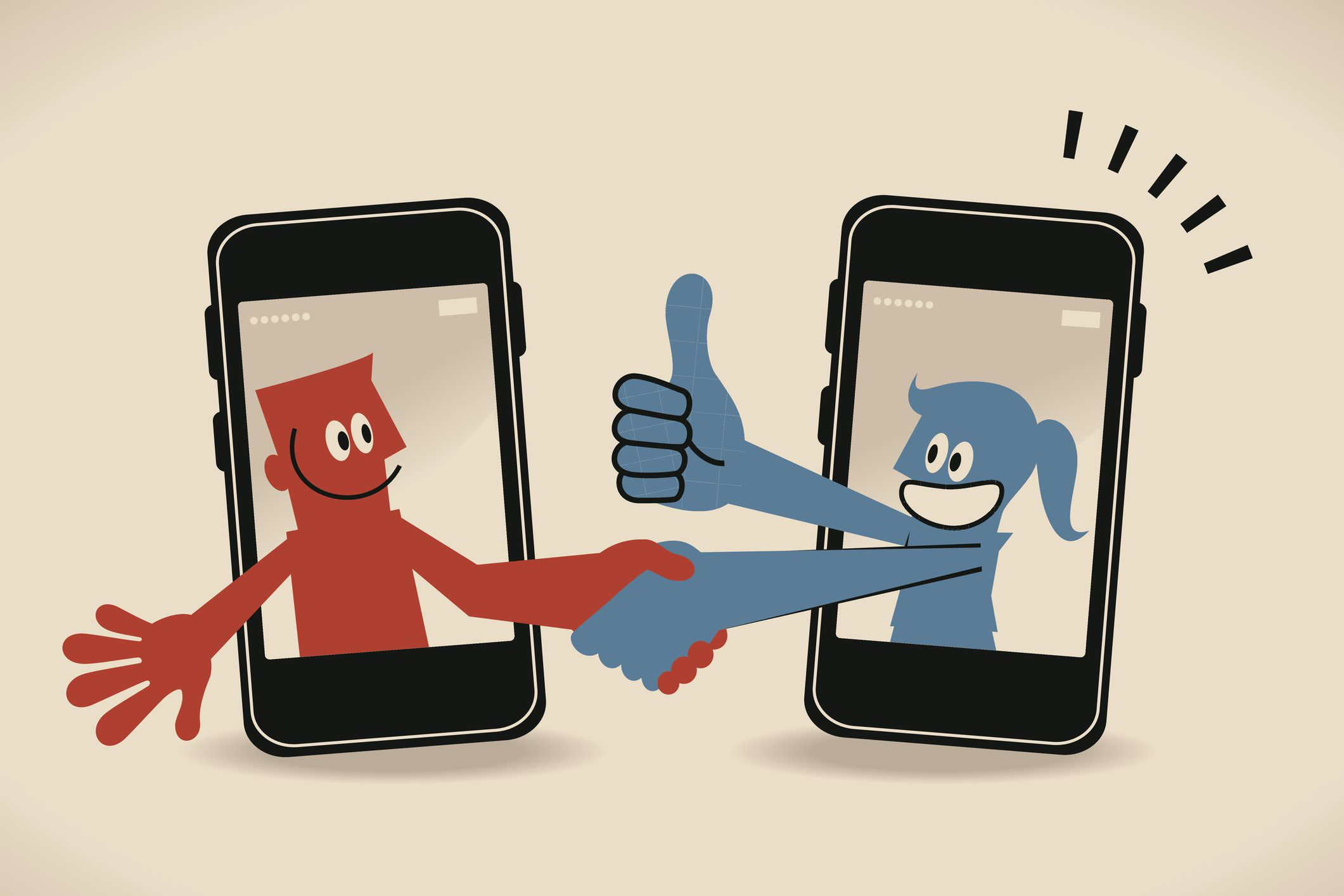 Illustration of one person thanking another though a smartphone.