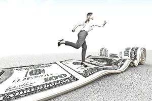 woman running on roll of money