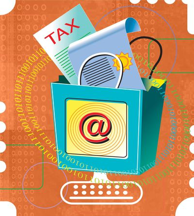 Illustration of taxes and papers in an inbox