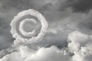 Copyright symbol in cloudy sky