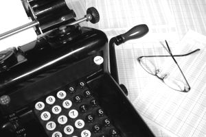 Old Fashioned Adding Machine & Glasses (Black and White)