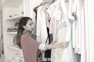 Young woman shopping at boutique