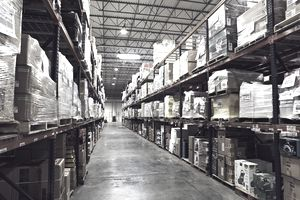 shelves of inventory in a warehouse