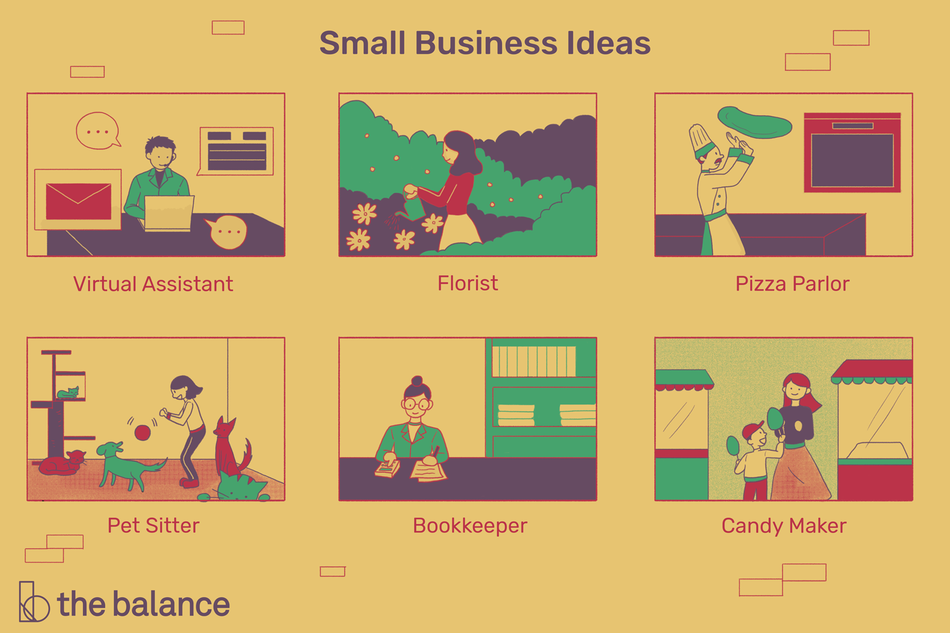 Illustration displaying several business ideas