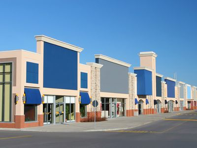 Street-angle view of a modern strip mall
