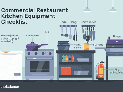 Illustration showing several essential items for a restaurant kitchen
