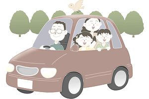 A family going for driving, Illustration