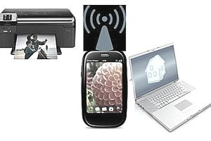 picture of phone, printer, computer