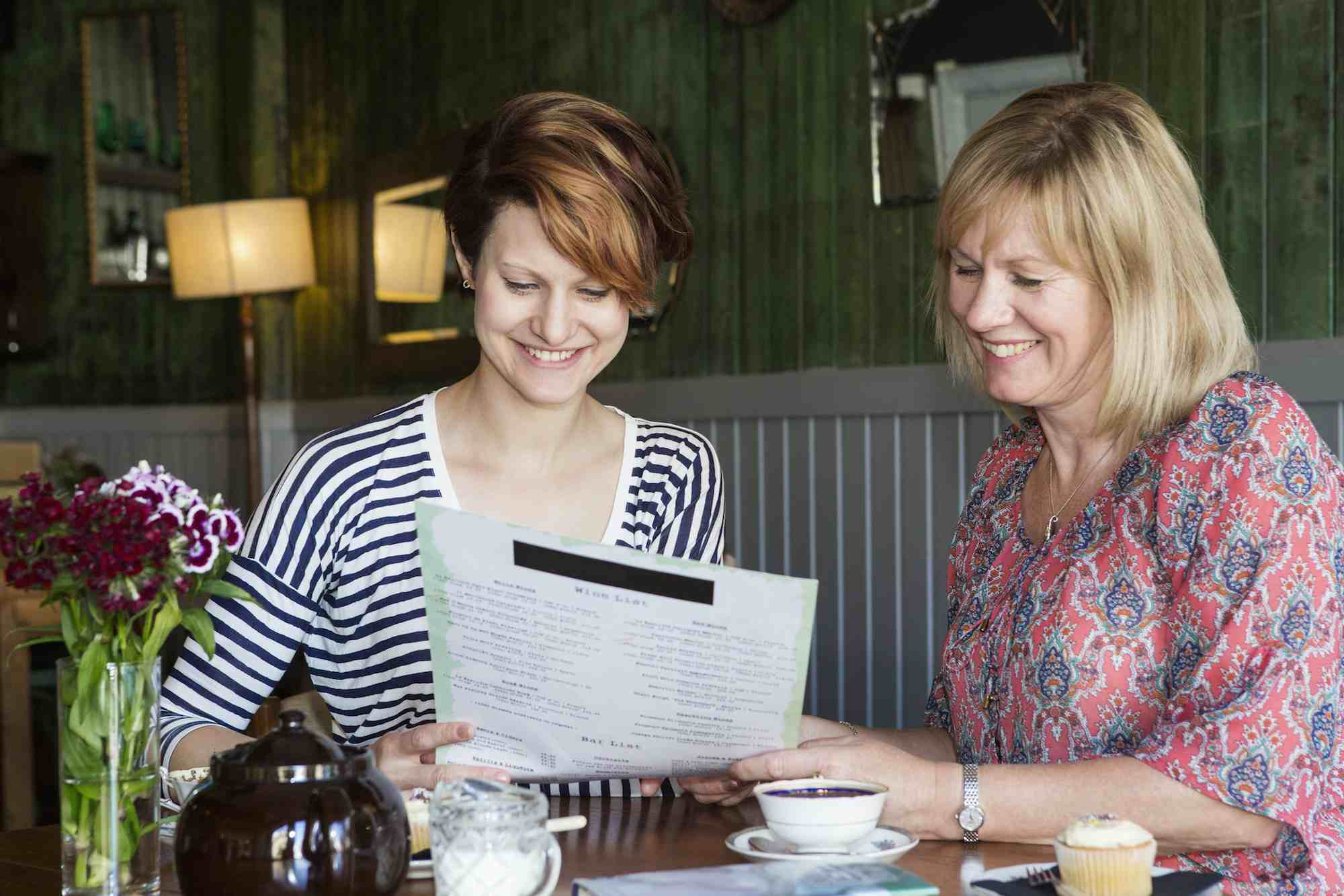 Mother and daughter choosing food in cafe