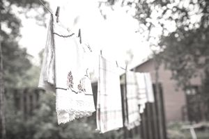Clothes drying on string at organic farm