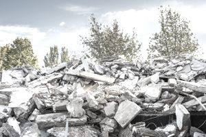 Building site rubble