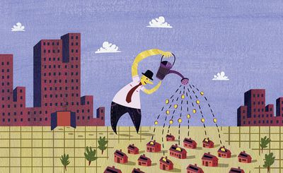 Businessman from city skyscraper pouring money from watering can into housing development