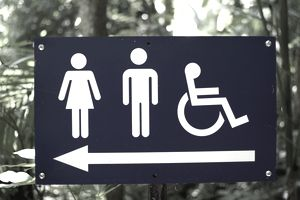 Signage pointing to disable restrooms
