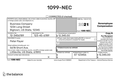 This illustration shows a 1099-NEC form for tax year 2020.