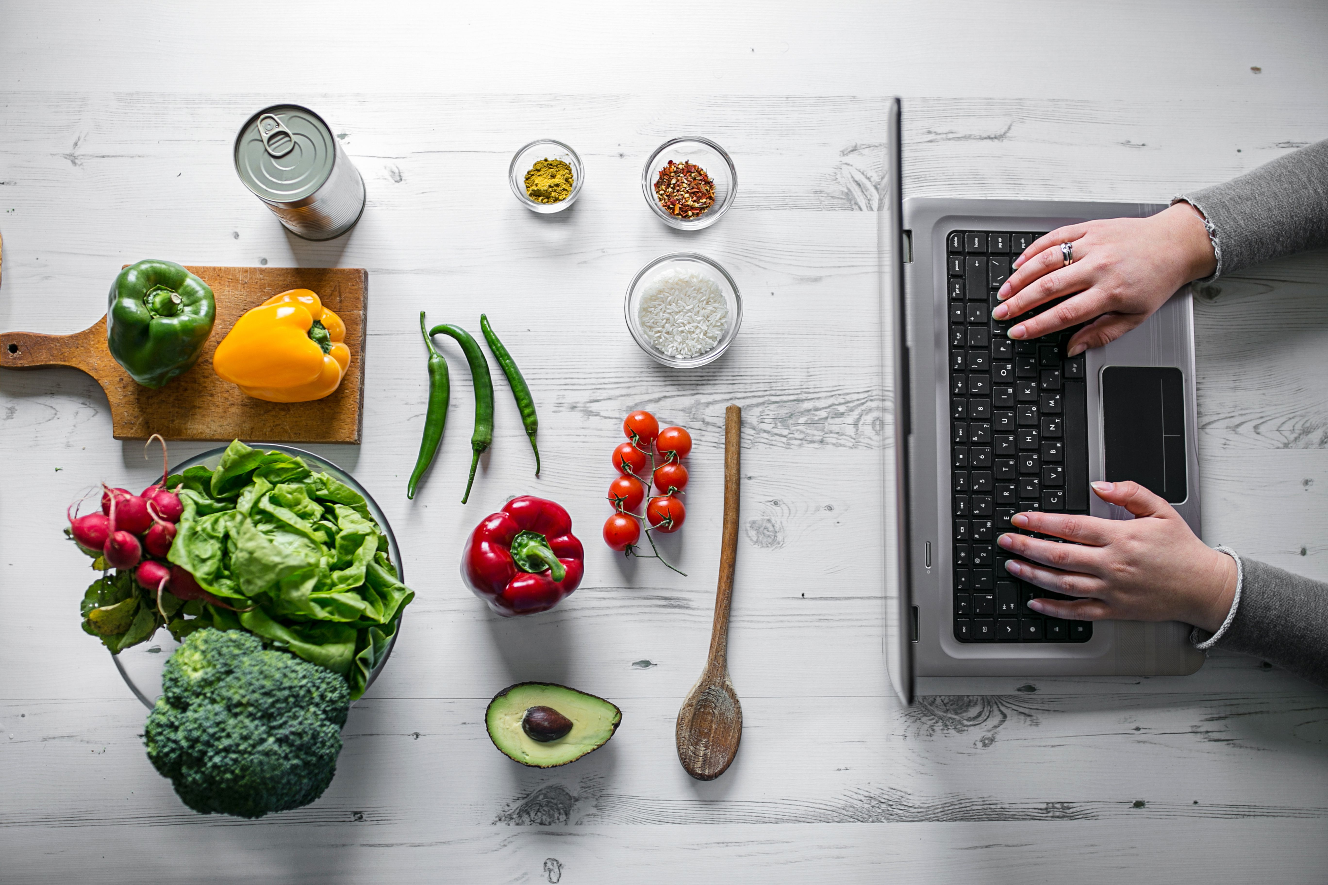 Woman searching for recipes online