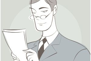 Drawing of businessman reading documents