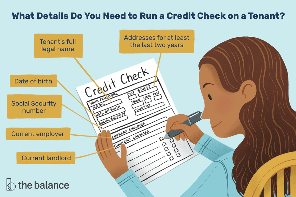 This illustration shows how to do a credit check on a tenant and the information that you'll need including addresses for the last two years, the tenant's full name, date of birth, social security number, current employer, and their current landlord.