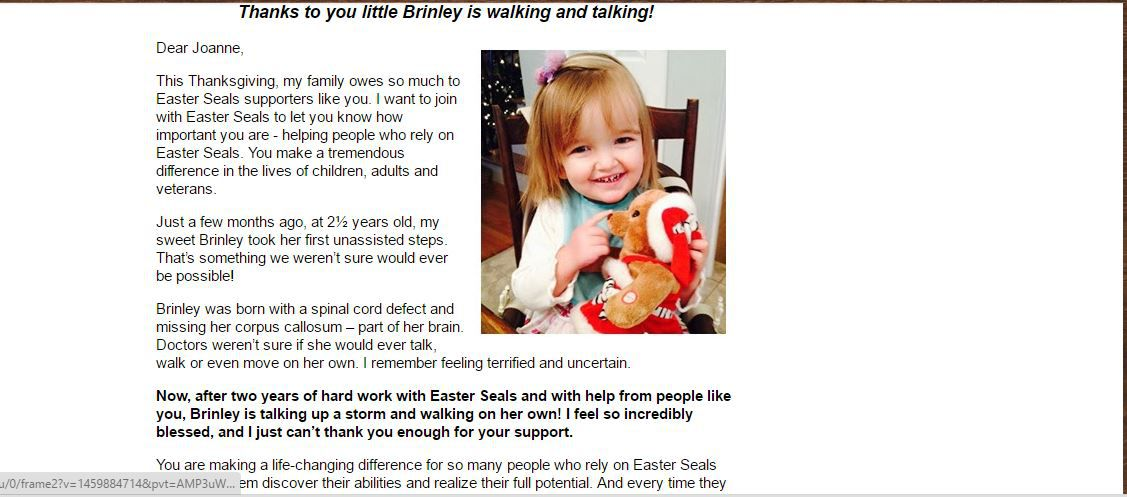 A beautiful email thank you from the Easter Seals.