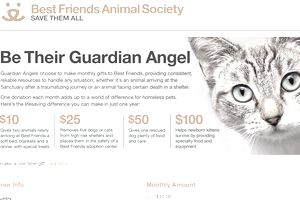 Best Friends Animal Sanctuary monthly giving page.
