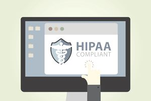 Illustration of a computer screen that says hippa compliant