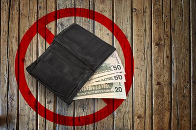 Black wallet and some Dollar banknotes
