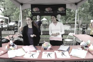 Fruit of the Loom employees marketing the business at a pop-up event booth